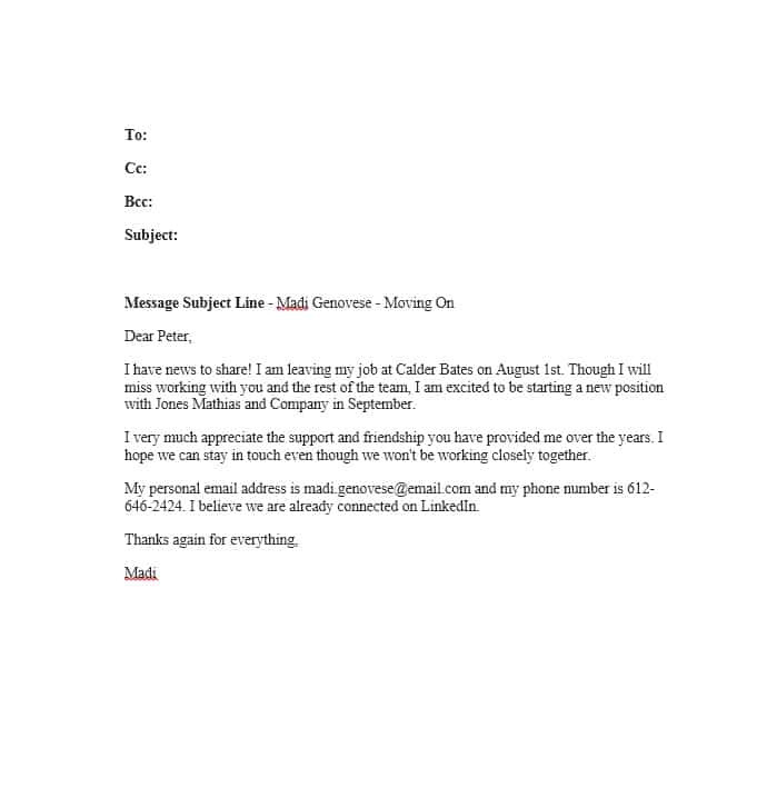 Leaving Work Email Template