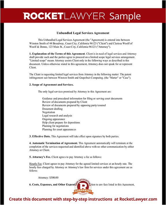 unbundled legal services agreement rl
