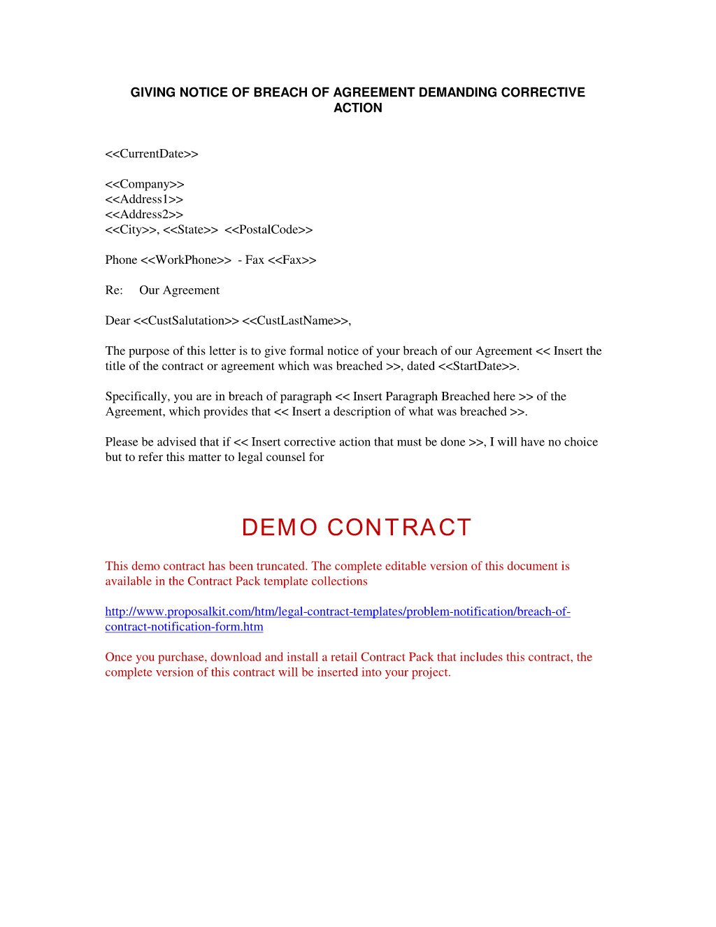 Letter before Action Template Breach Of Contract Breach Of Contract Notification form Notification Of