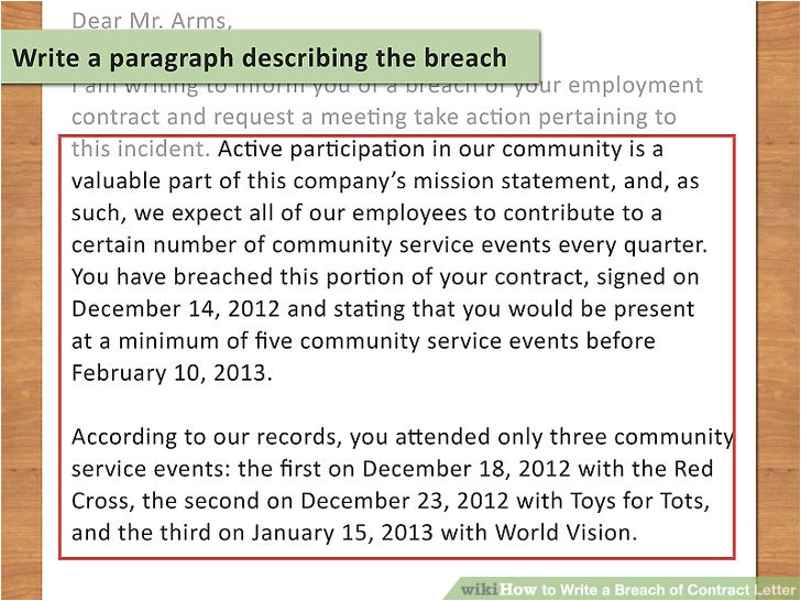 write a breach of contract letter