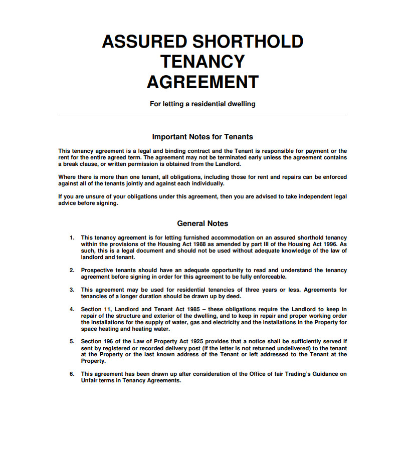 Letting Contract Template Uk Tenancy Agreement Templates Free Download Edit Print