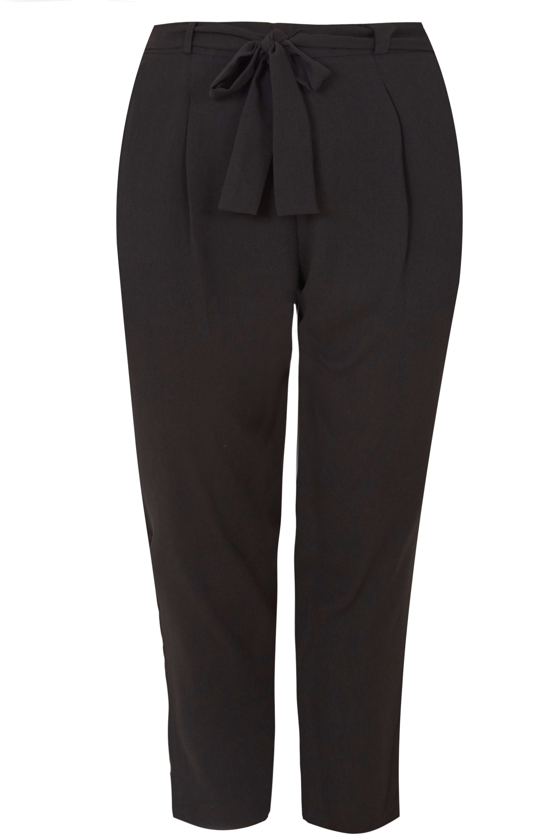 black crepe tapered trousers p