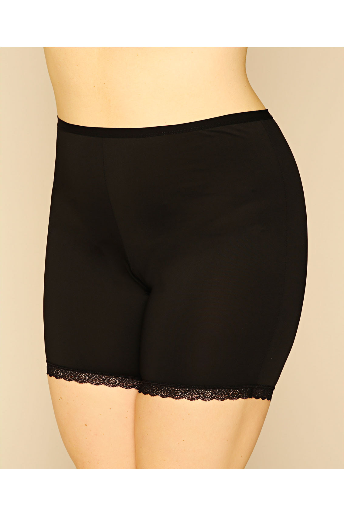 black thigh smoother brief with lace detail hem p