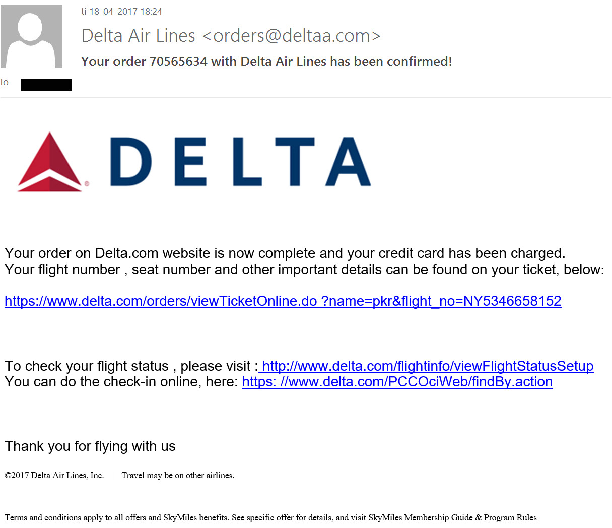hancitor malware delta airlines