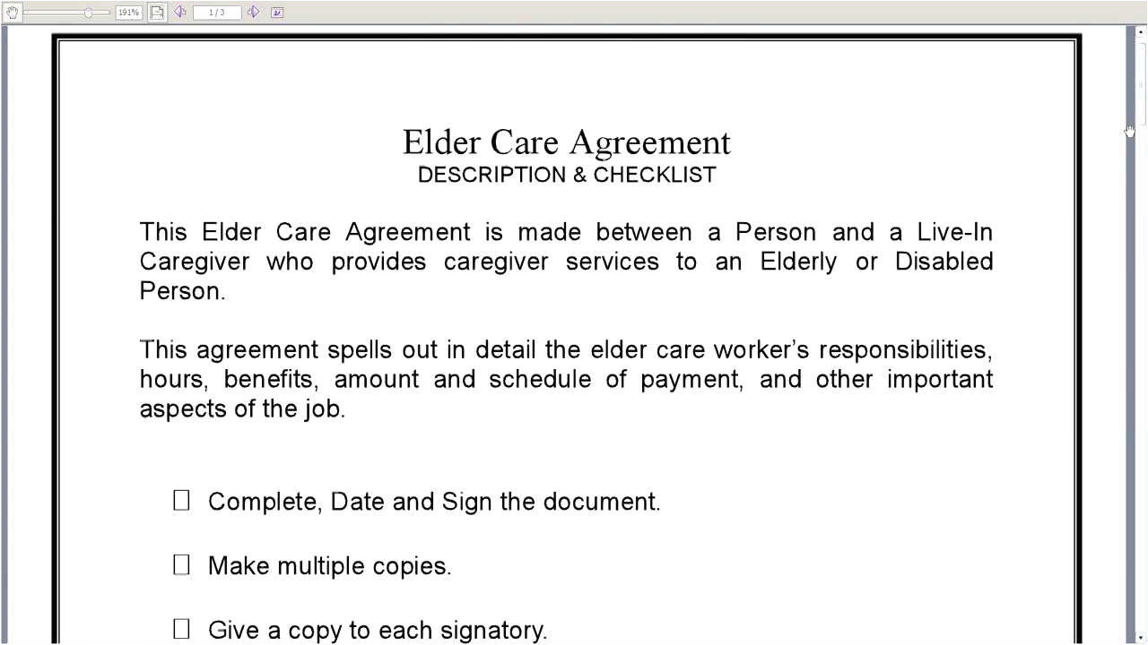 Live In Caregiver Contract Template Elder Care Agreement Youtube