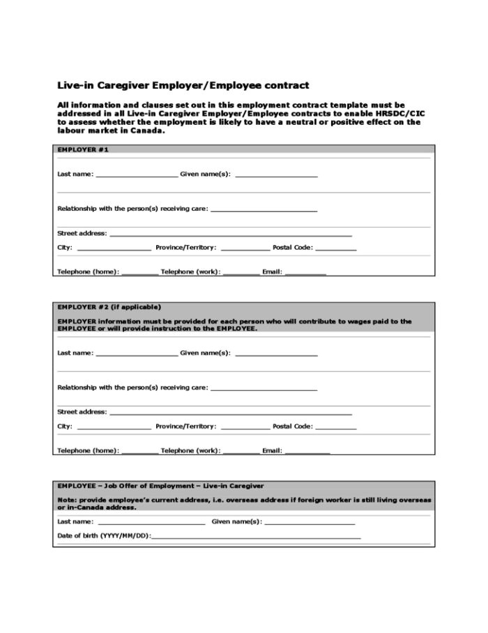caregiver contract form free
