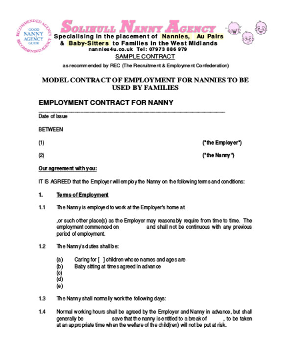 nanny agreement contract
