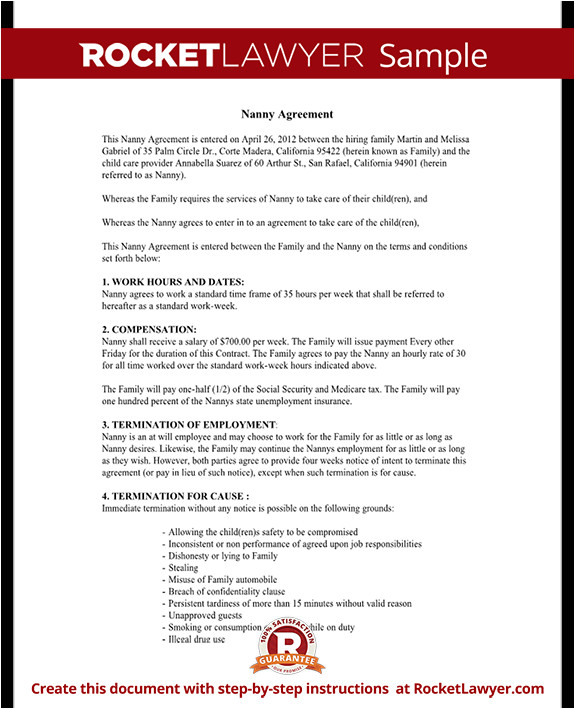 nanny agreement rl