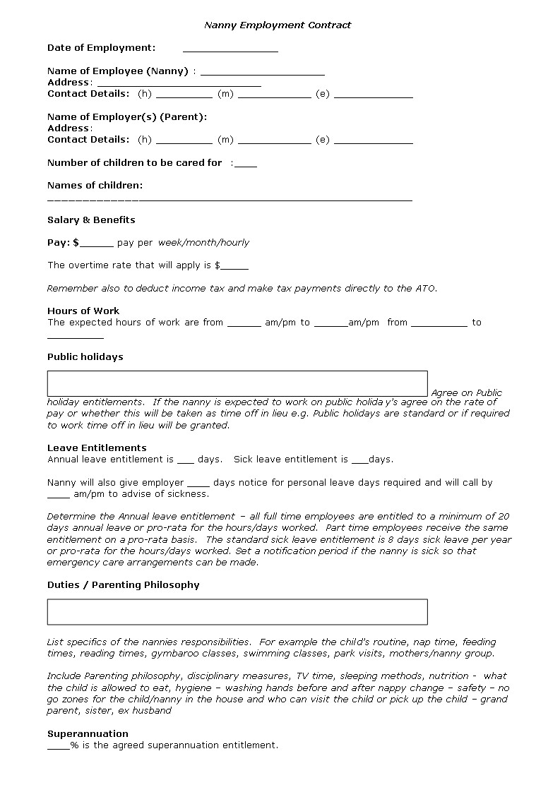 Live In Nanny Contract Template Nanny Contract Template Nanny Agreement Template Nanny