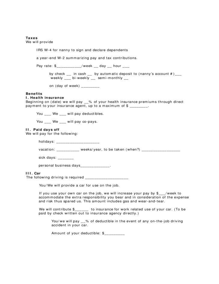 free contract form for live out nanny