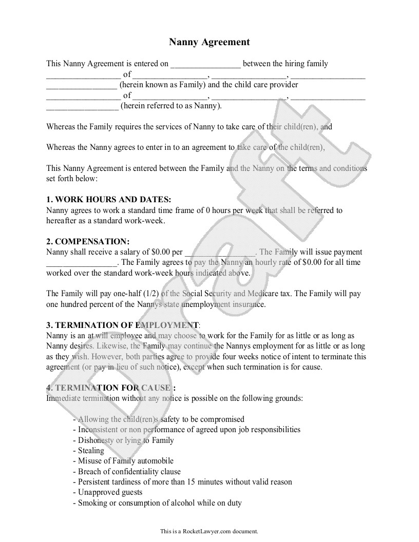 live in nanny contract template