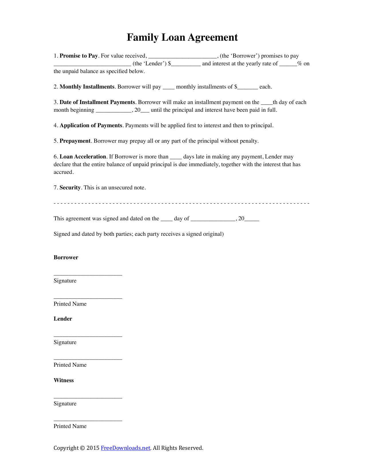 family loan agreement template 2