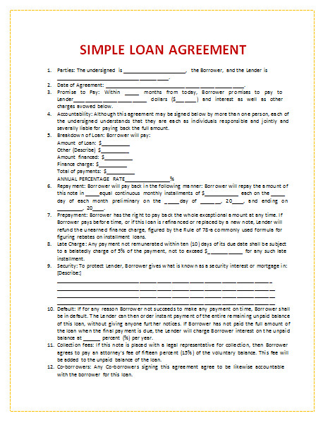 Loan Contract Template Canada 45 Loan Agreement Templates Samples Write Perfect