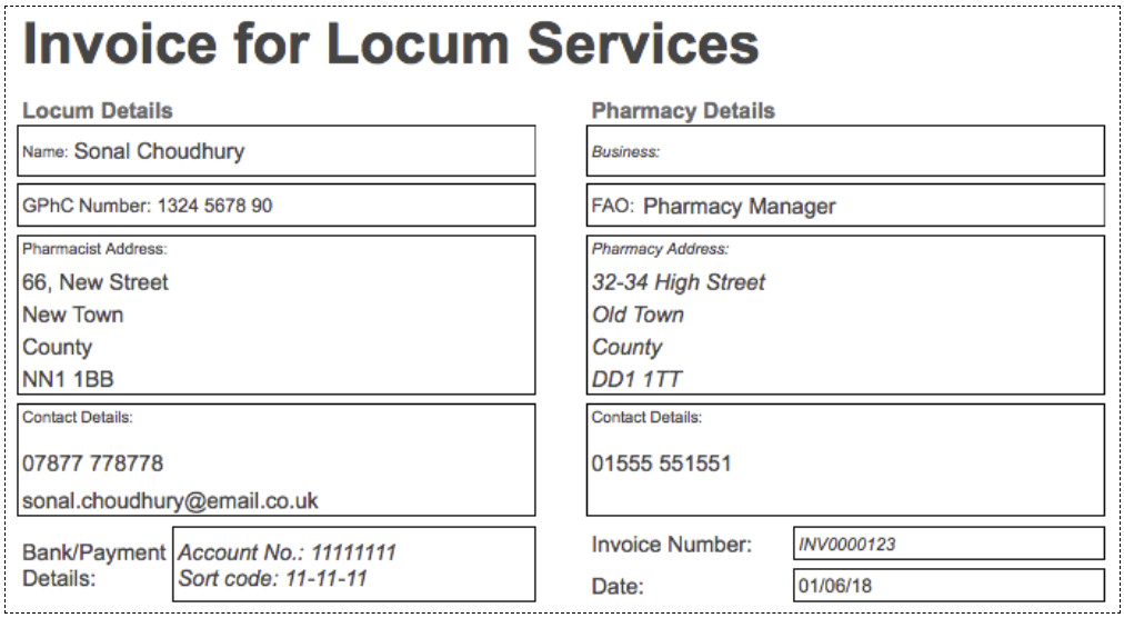 locum pharmacist invoice example and template