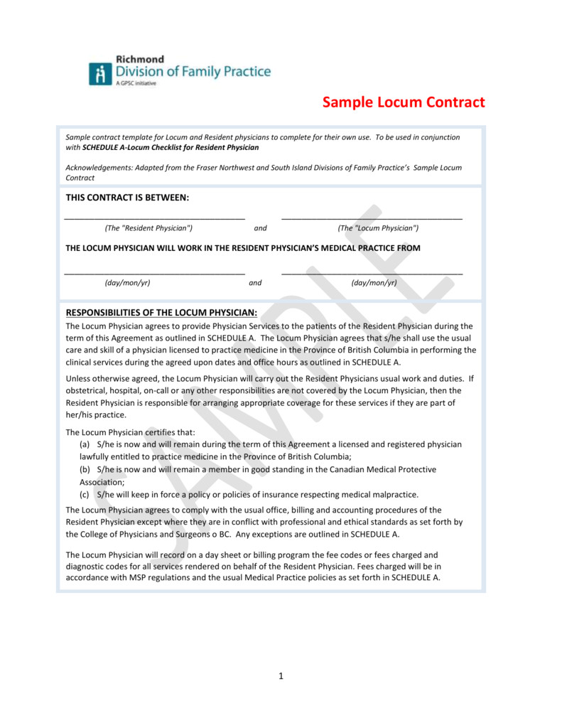 sample locum contract divisions of family practice