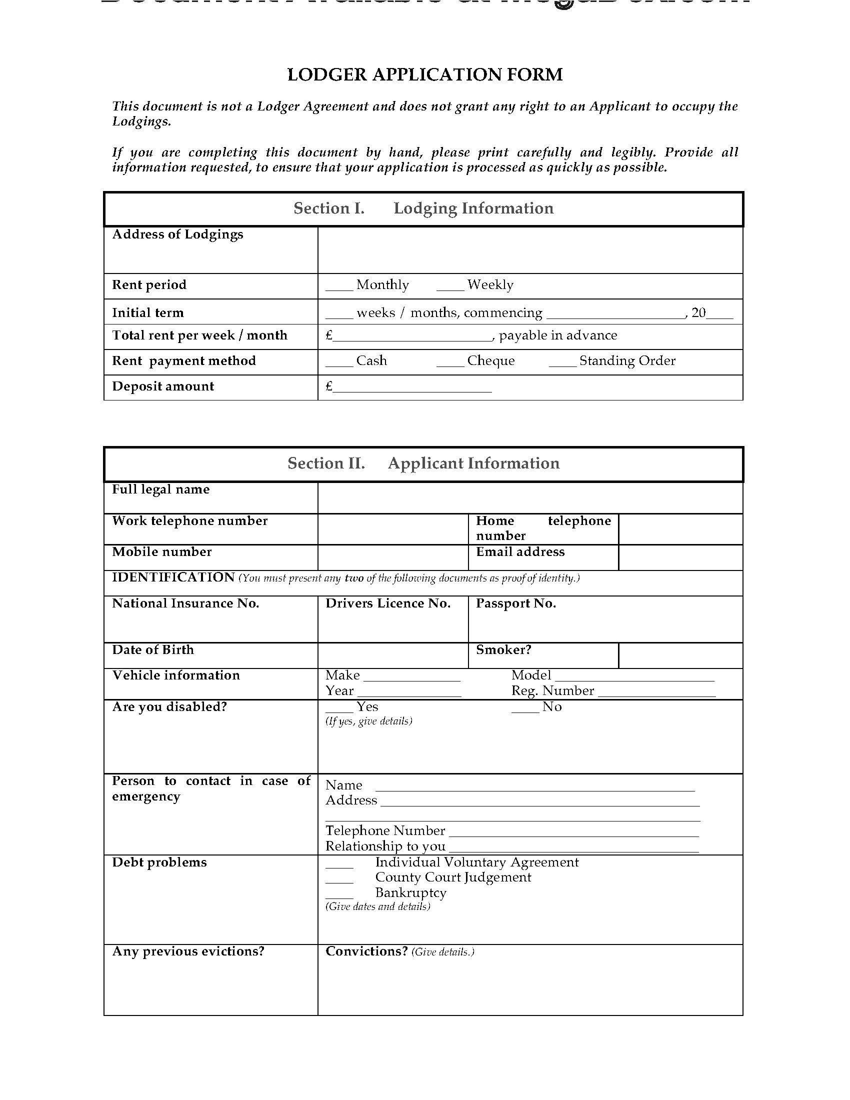 Lodger Contract Template Uk Lodger Application form Legal forms and Business