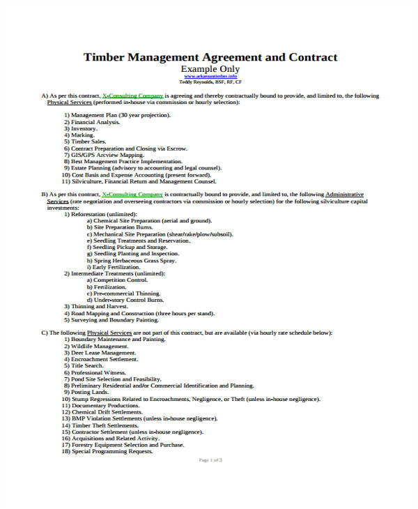 management contract templates