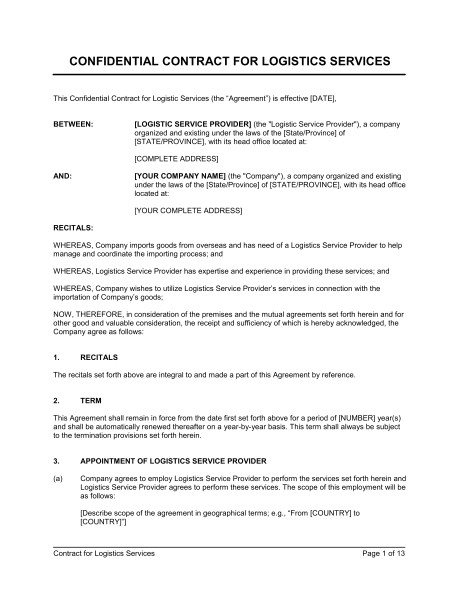 Logistics Contract Template Contract for Logistics Services Template Sample form