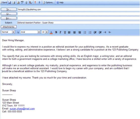 job application hiring email job employer