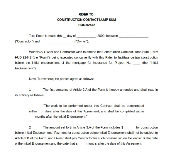 Lump Sum Contract Template 10 Sample Construction Contract forms Sample forms