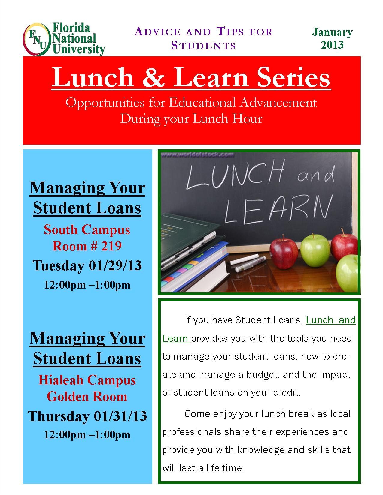 lunch and learn flyer manage your student loans jan 2013