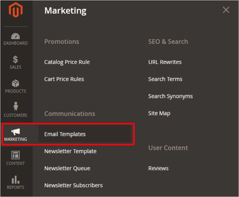 how to create edit email templates magento2