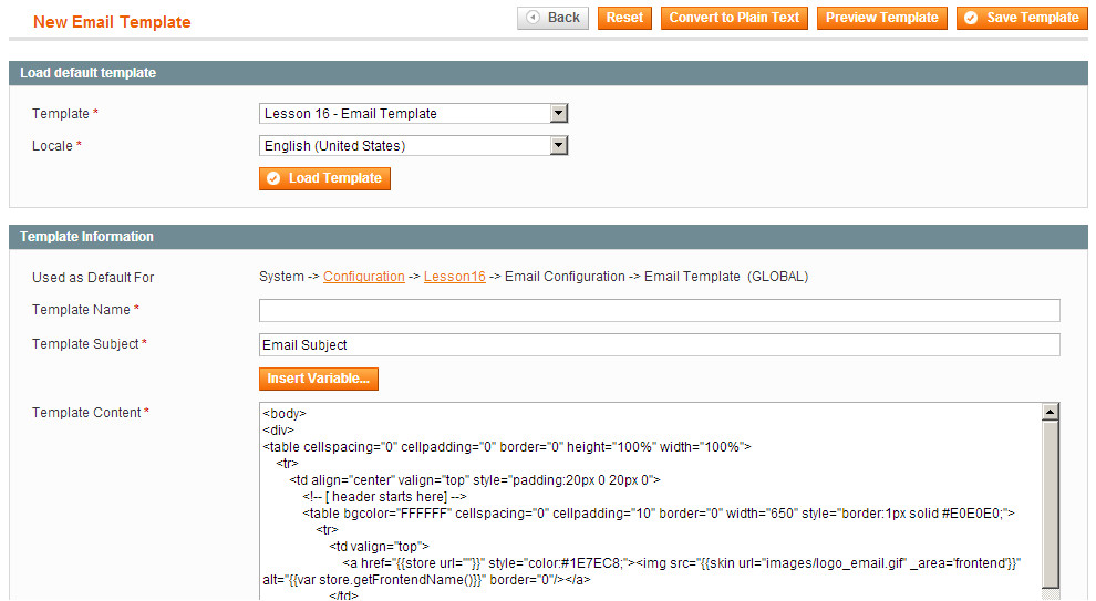 lesson 16 email in magento part 1