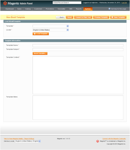 magento email templates