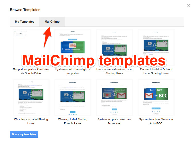 import mailchimp templates to gmail