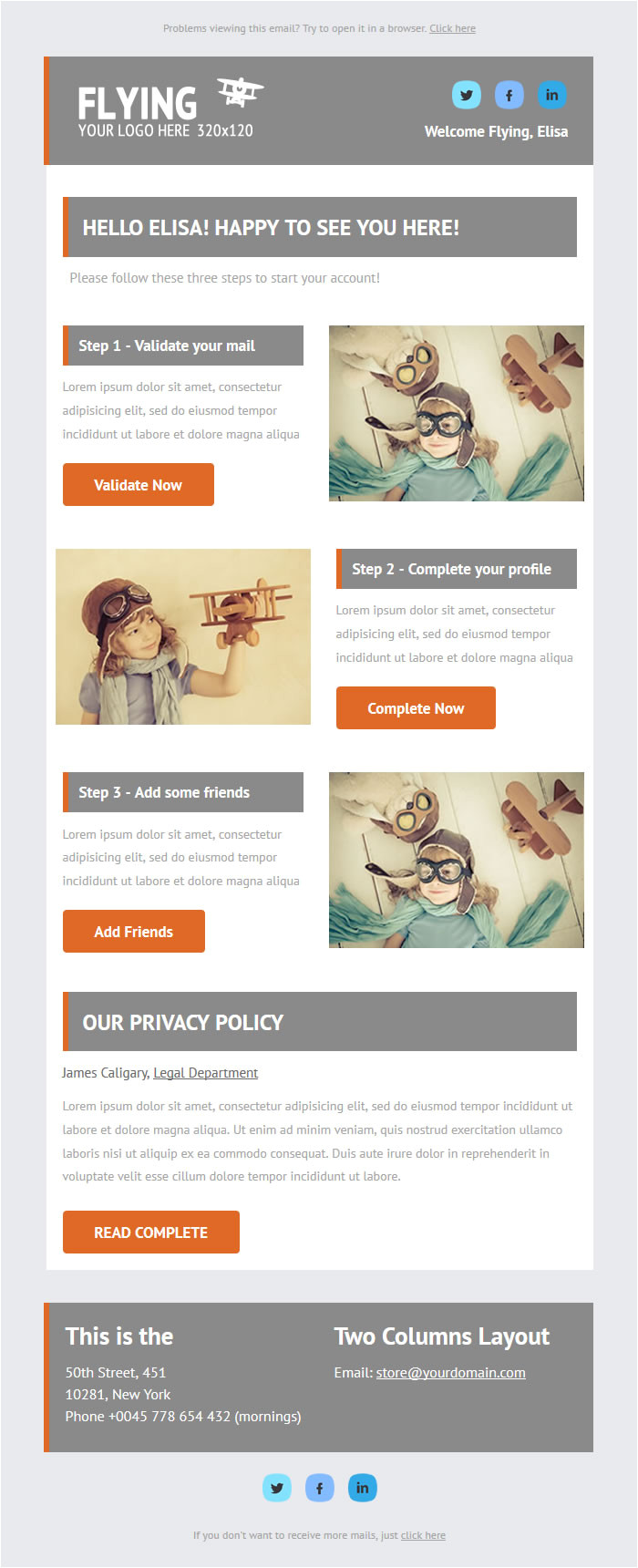 flying welcome message responsive email newsletter template mailchimp