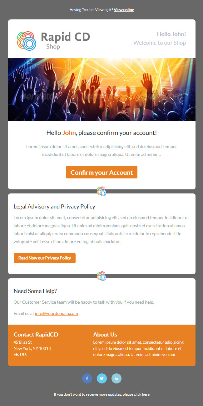 rapidcd welcome welcome message responsive email newsletter template mailchimp