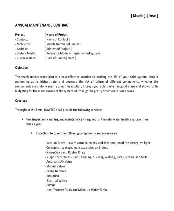 maintenance contract templates