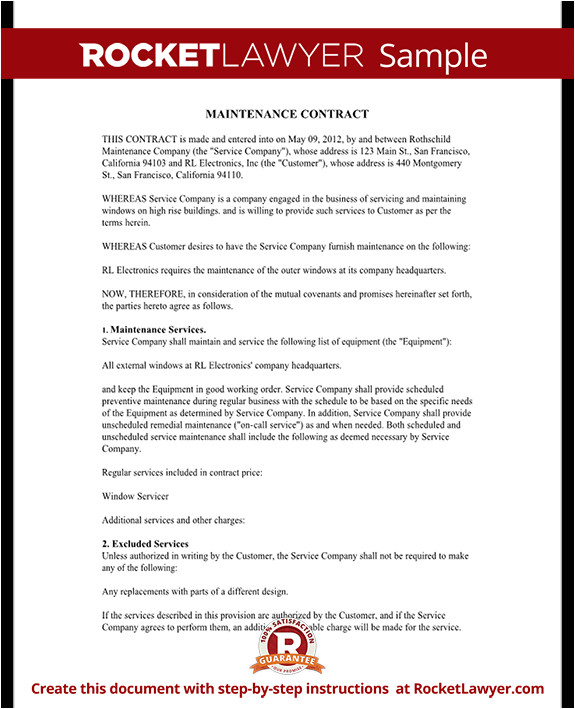 Maintenance Contracts Templates Maintenance Contract Maintenance Service Contract