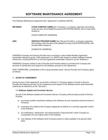 software maintenance agreement var d780