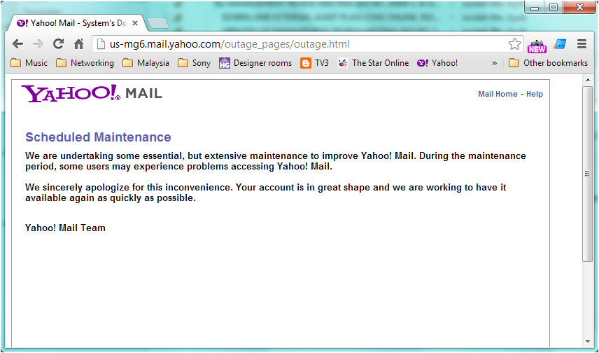 yahoo on scheduled maintenance