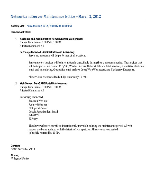 Maintenance Window Email Template Maintenance Notice Templates 8 Free Word Pdf format