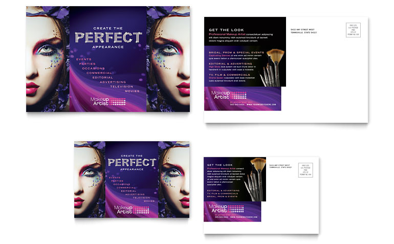 makeup artist postcard templates hb0060201d