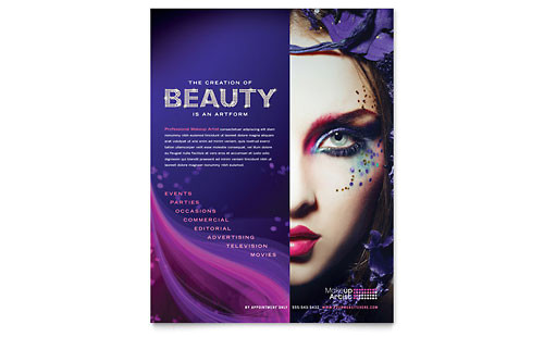 makeup artist tri fold brochure template design hb0062301