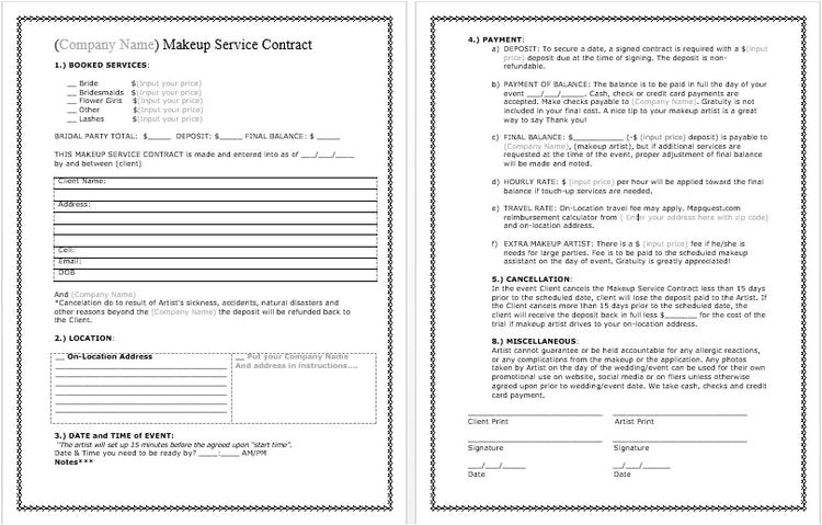 bridal makeup contract template docx