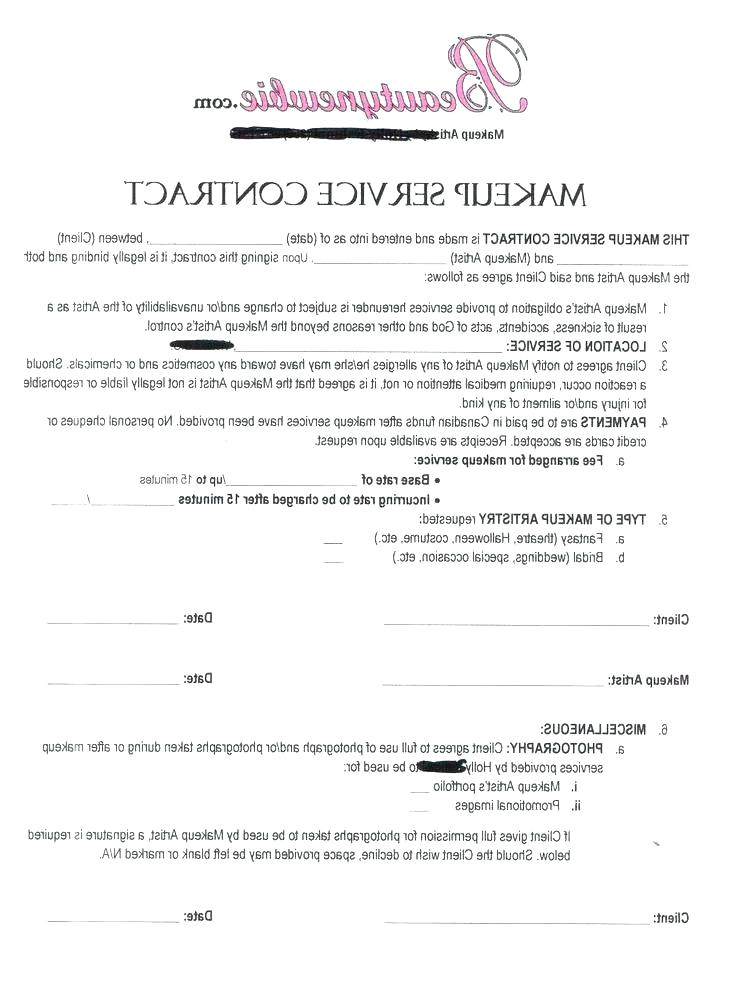 sample contract for makeup artist