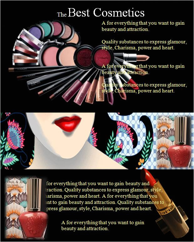 cosmetics flyer templat that are used to enhance the human body appearance creams lotions perfumes lipsticks fingernail and toenail polish eye and facial makeup permanent waves colored contac