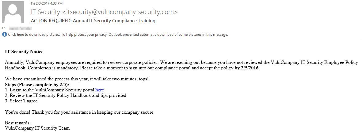 annual security training phishing
