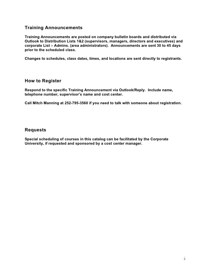 Mandatory Training Email Template Corporate Training and Development Catalog
