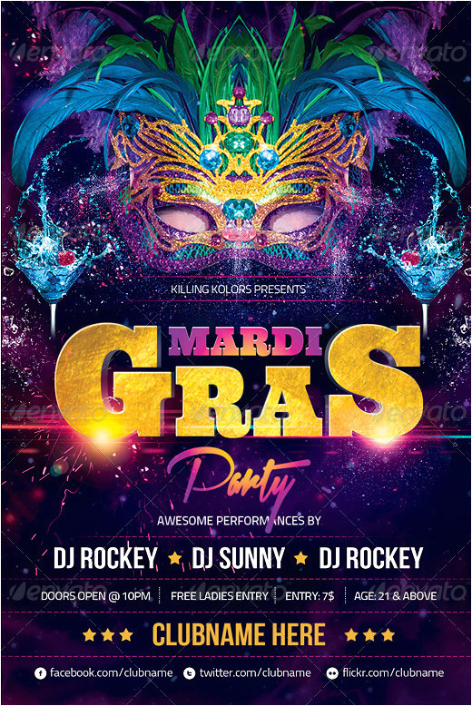 mardi gras party flyer psd template 436962933