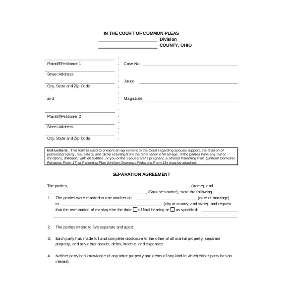 separation agreement template