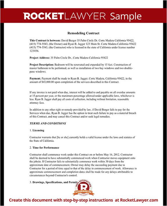 Maryland Home Improvement Contract Template Home Improvement Contract Agreement Template with Sample