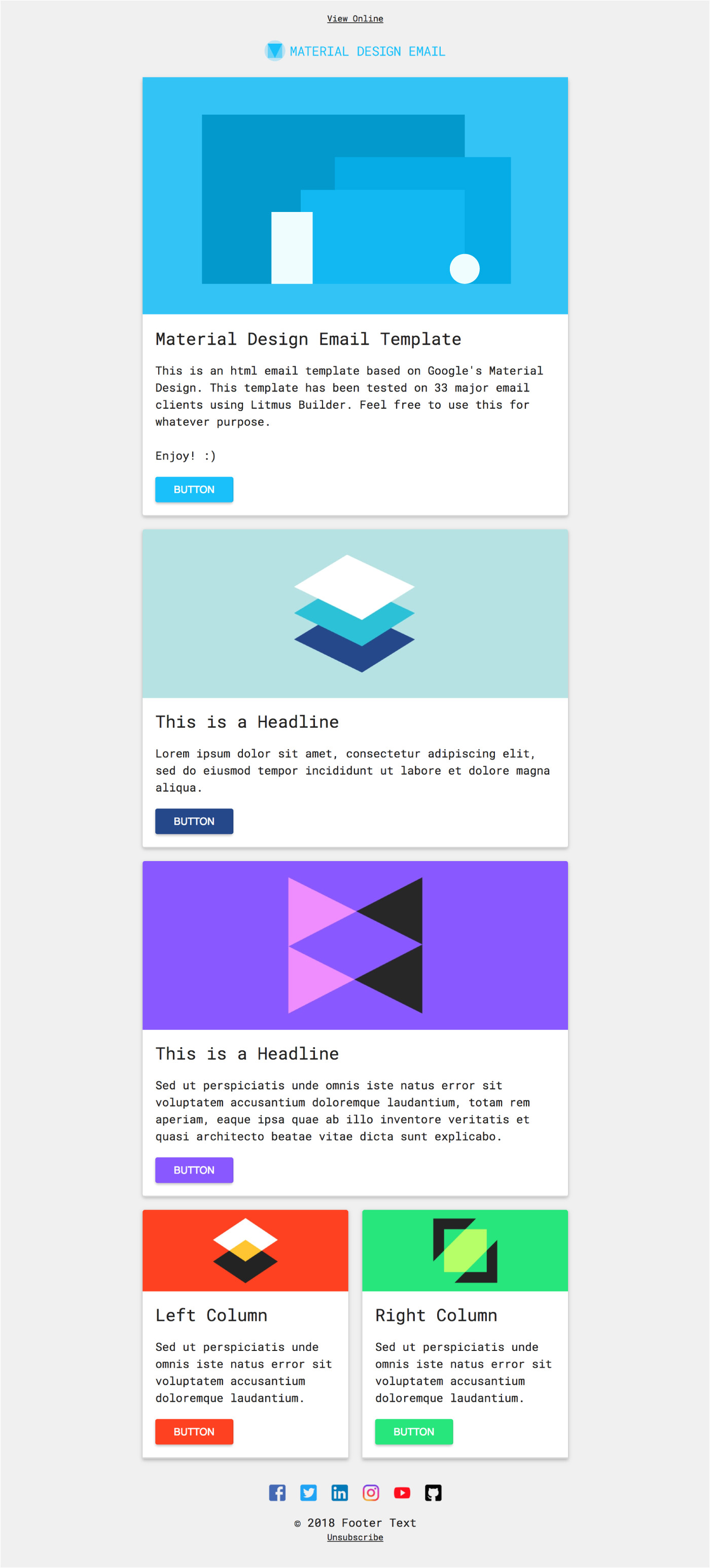 Material Design HTML Email Template Free HTML Email Template Material Design On Behance