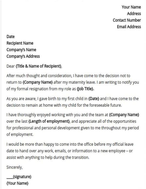 maternity resignation letter samples