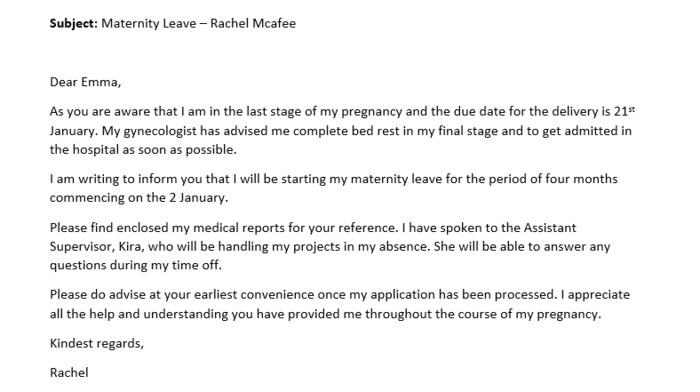 maternity leave letter