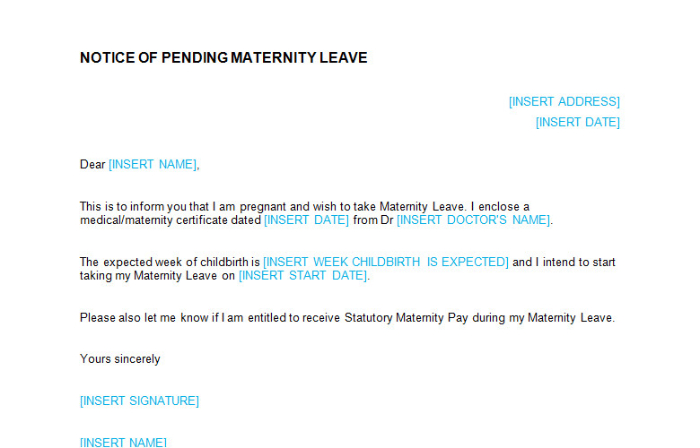 maternity leave request letter